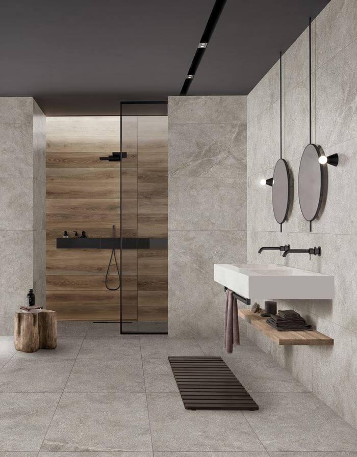 bagno in gres effetto pietra