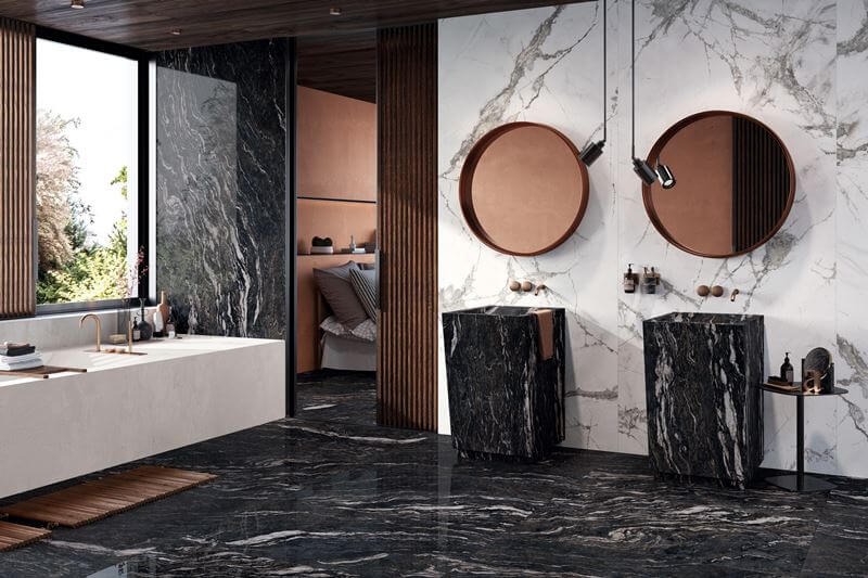 bagno in gres effetto marmo
