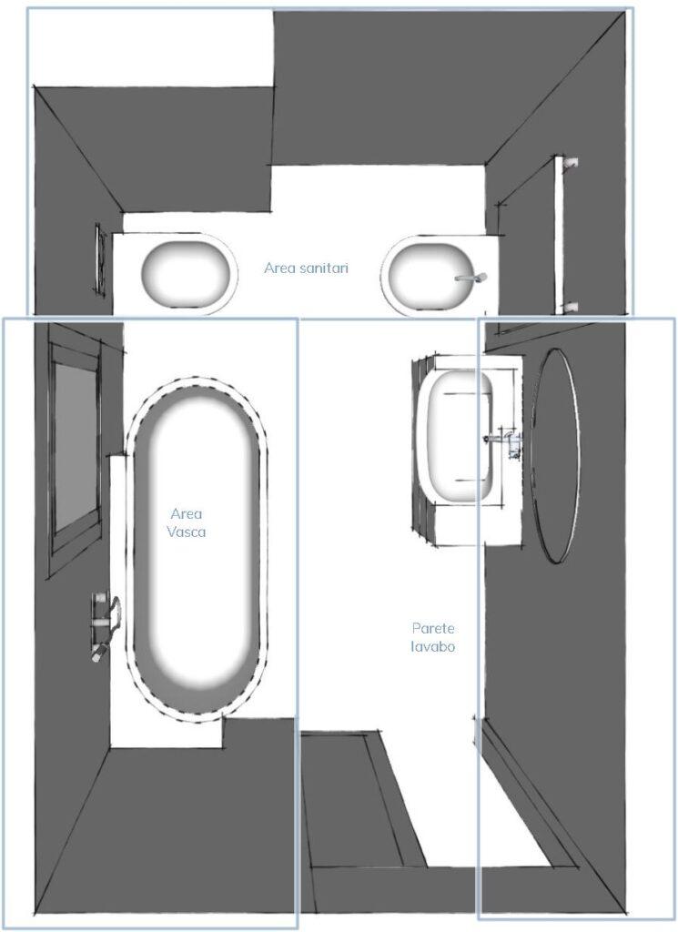 dividere il bagno in zone per scegliere le piastrelle