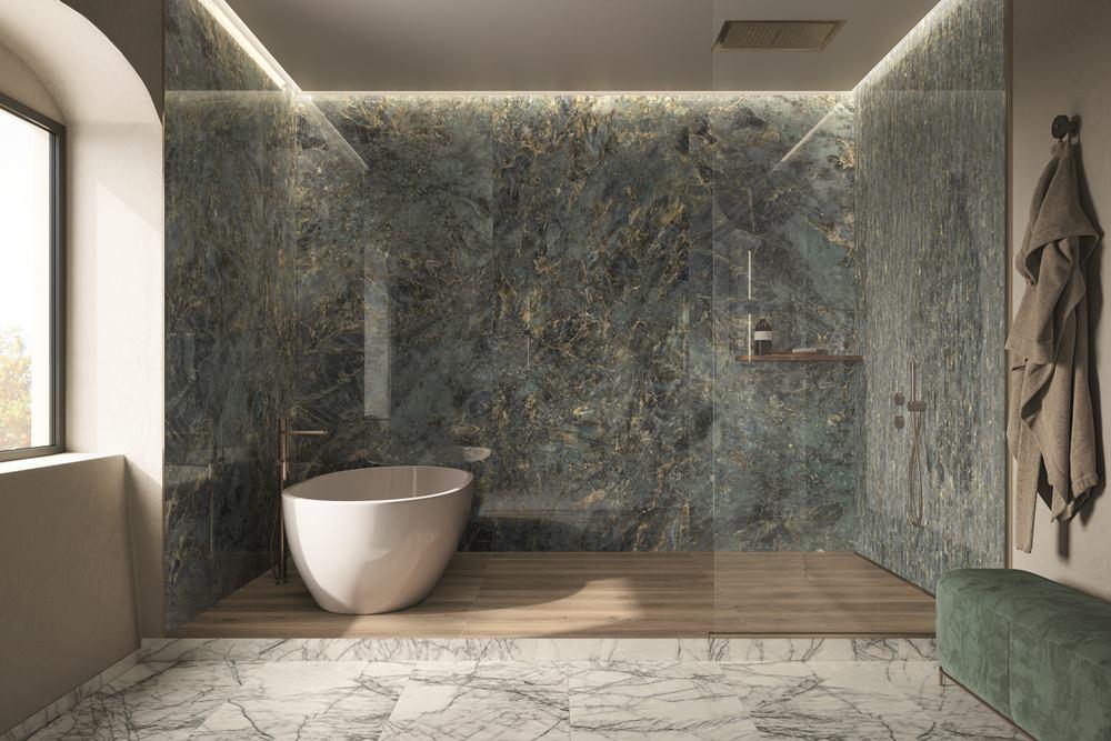 piastrelle effetto marmo colorato in gres porcellanato