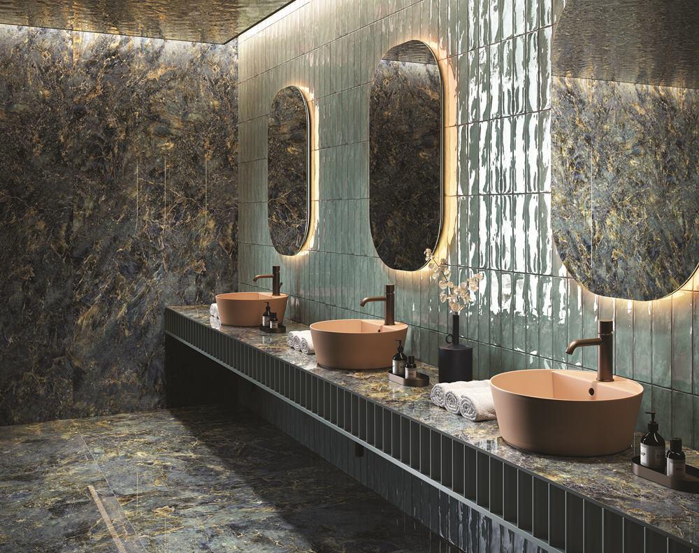 piastrelle in gres porcellanato effetto marmo colorato