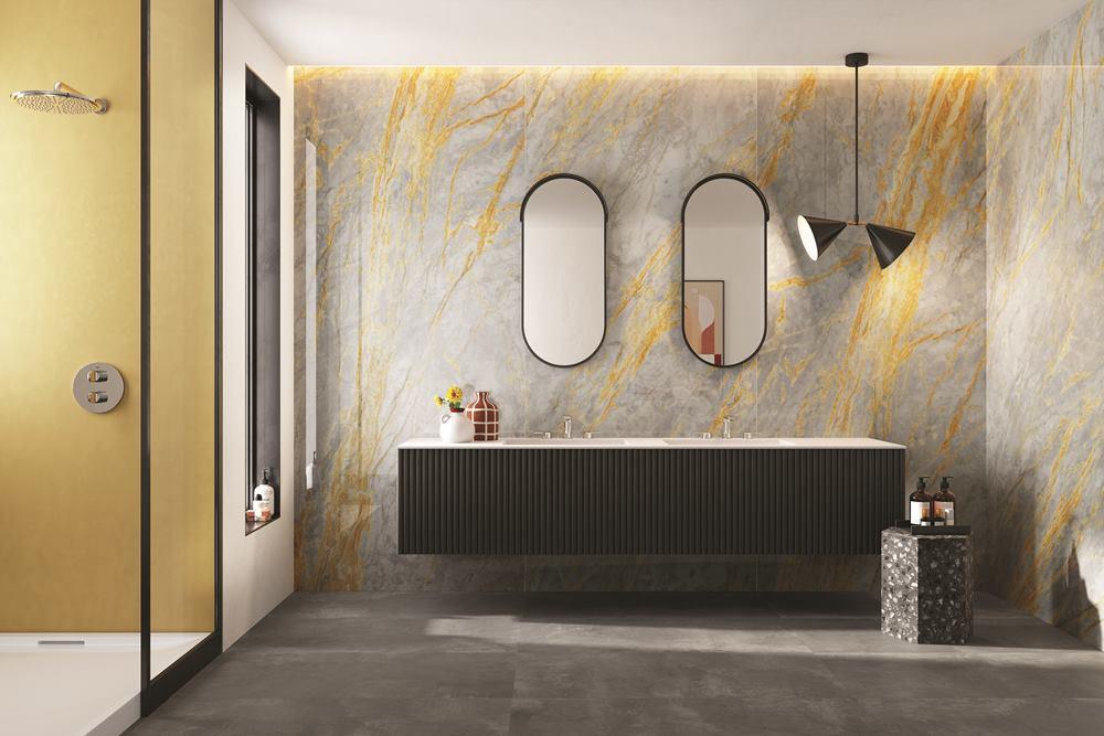piastrelle effetto marmo colorato in gres porcellanato per bagno