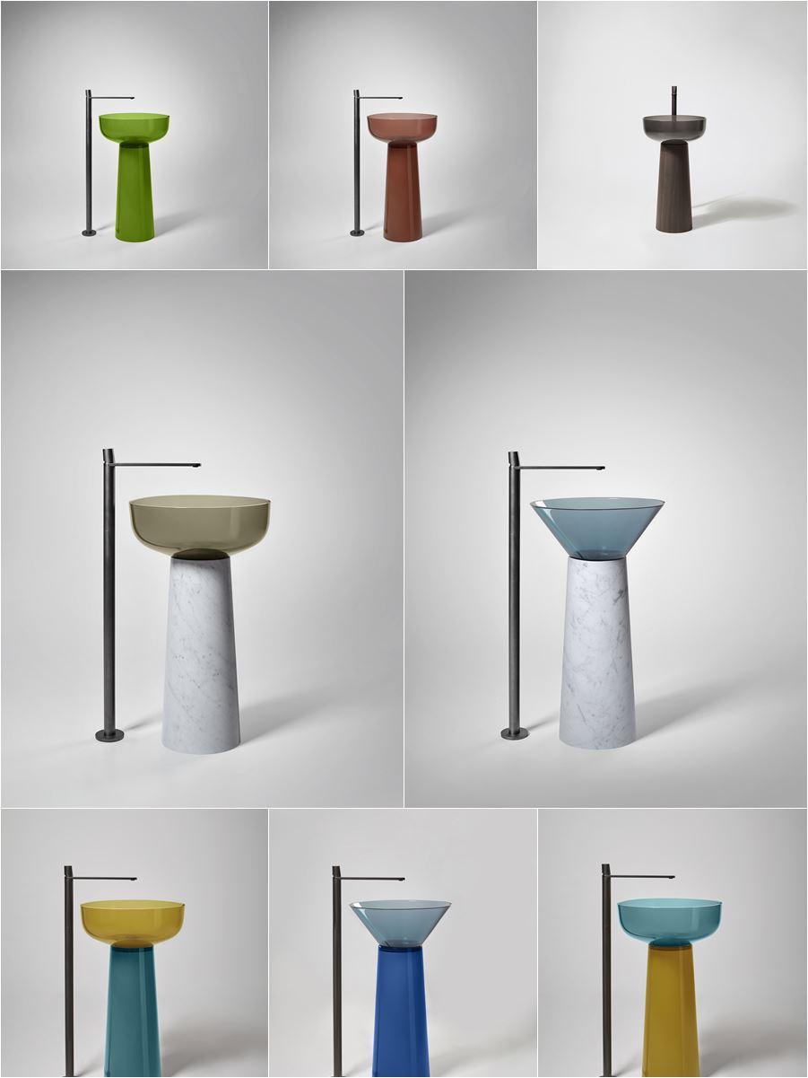 lavabo freestanding trasparente in resina colorata e colonna in marmo