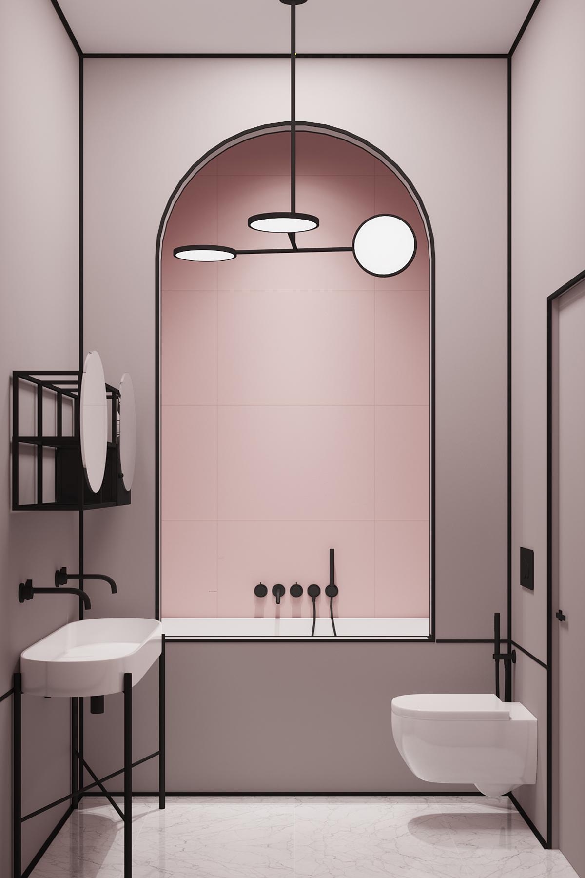 bagno rosa e nero