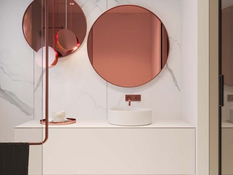 rose gold and marble bathroom