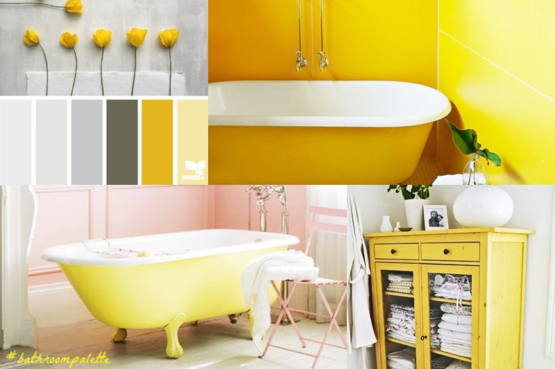 Bathroom interiors with a touch of yellow