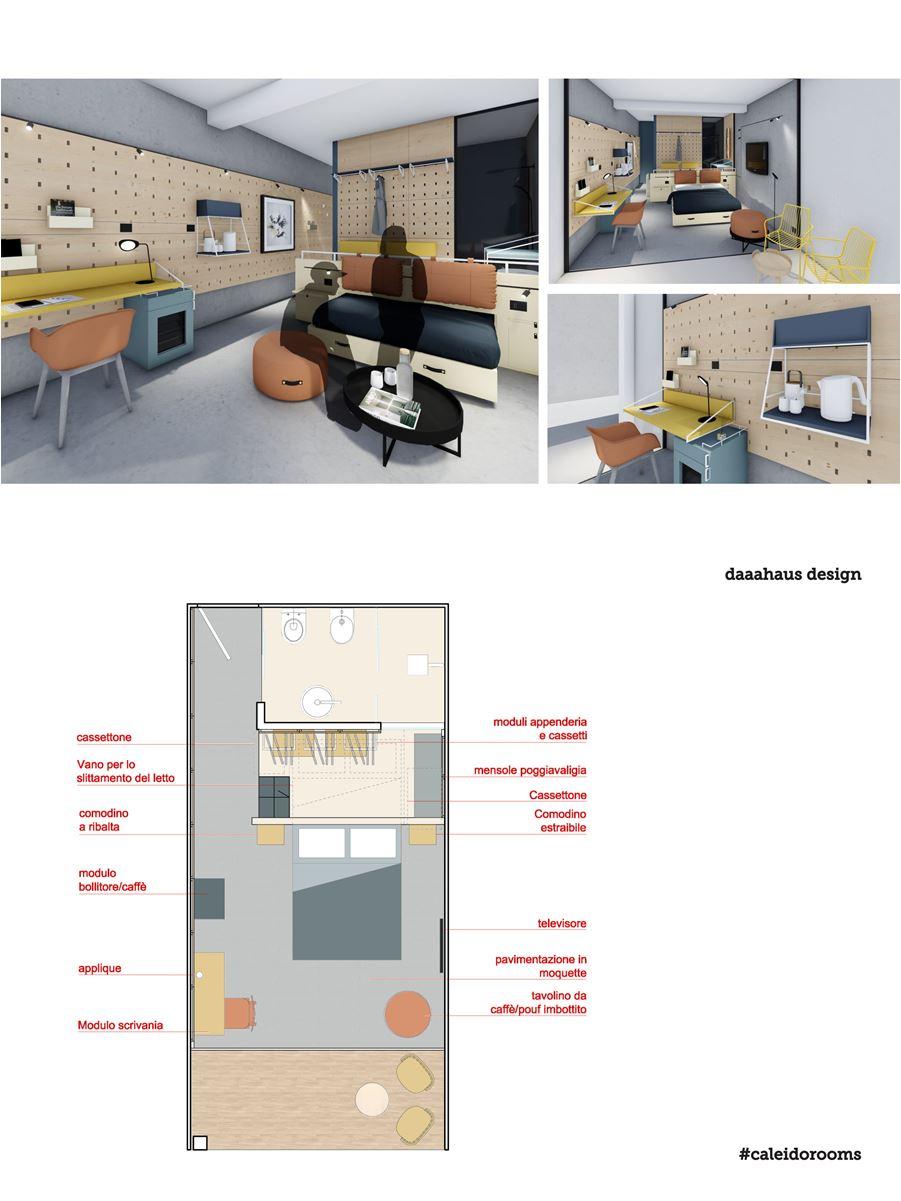 progetto camera hotel di design