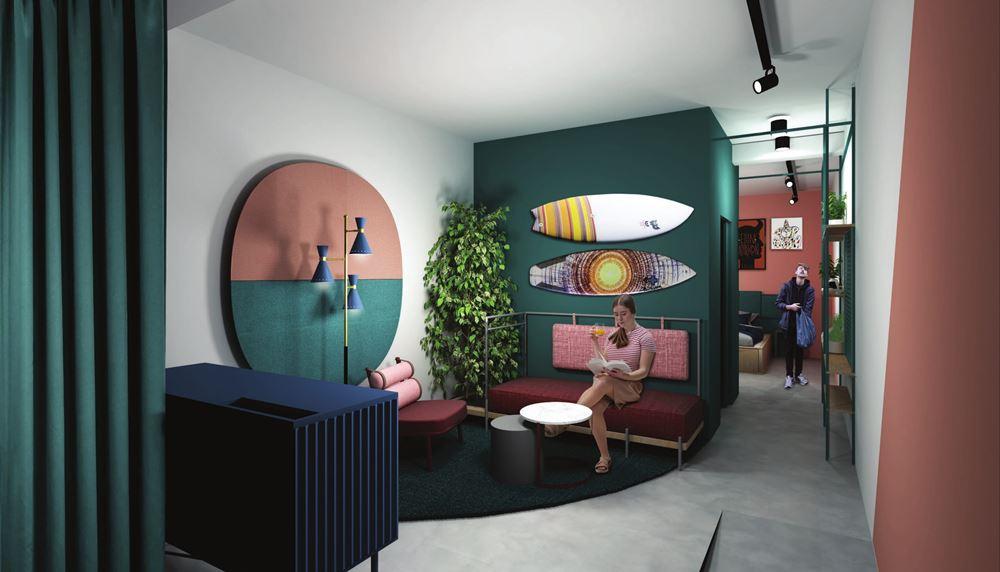 Mockup camera d'albergo: by Rizoma Architecture