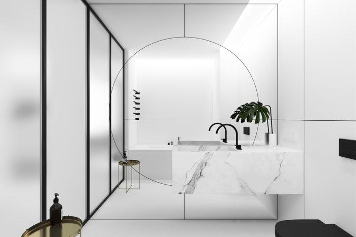 specchio decoro geometrico in bagno