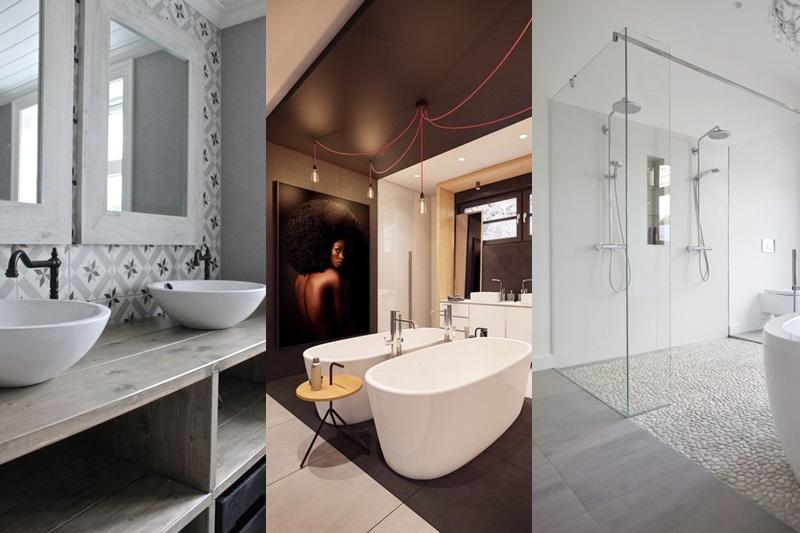 Bagno con doppio lavabo e doccia doppia