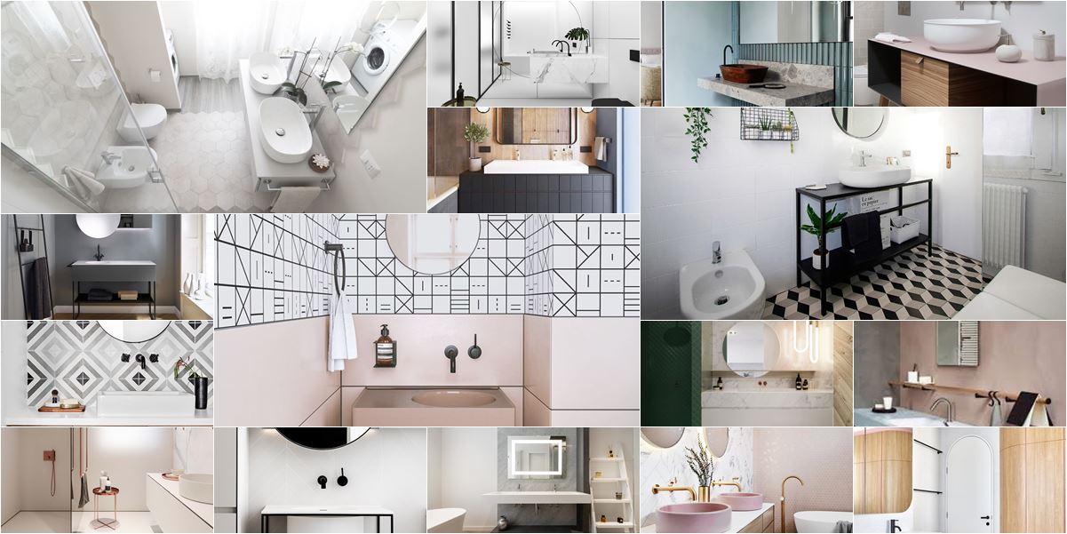 collage foto di bagni