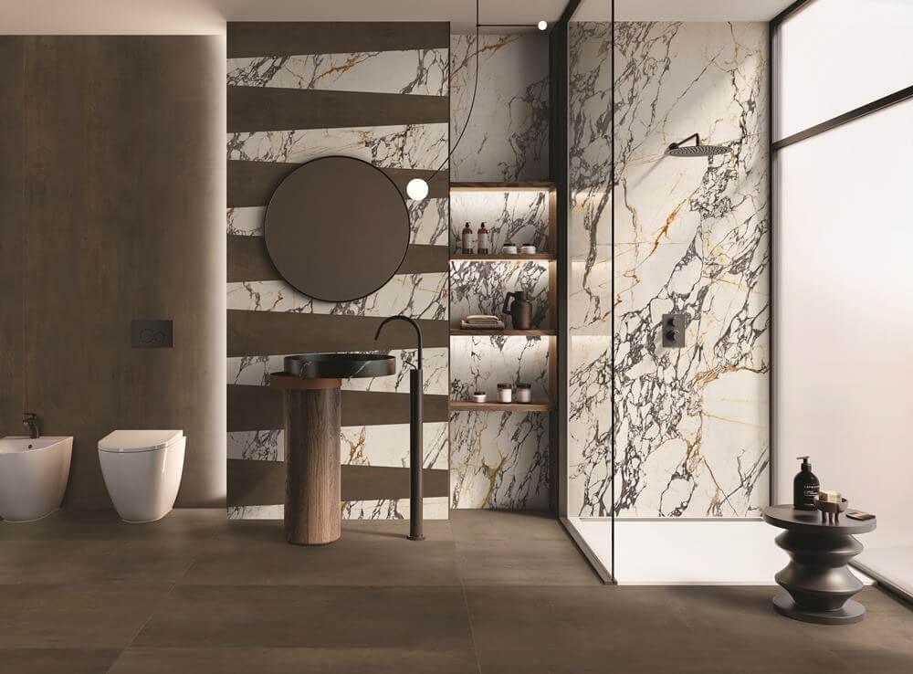 bagno in marmo gres porcellanato