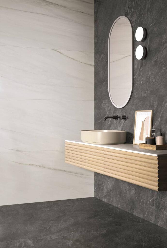 piastrelle in gres porcellanato effetto marmo per bagno