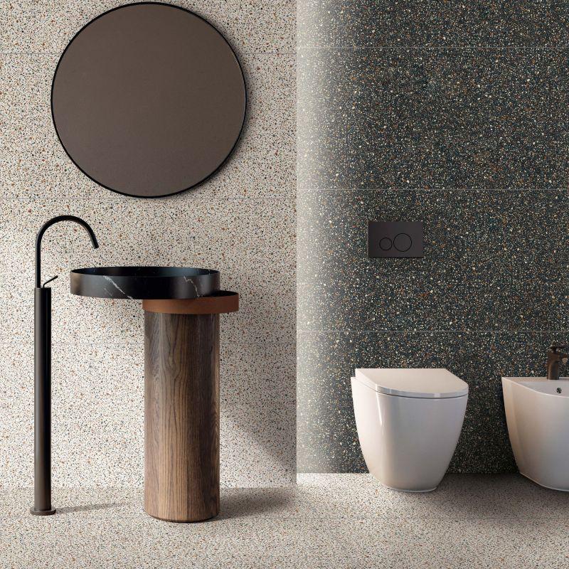 gres porcellanato effetto graniglia bianco e nero (bagno)