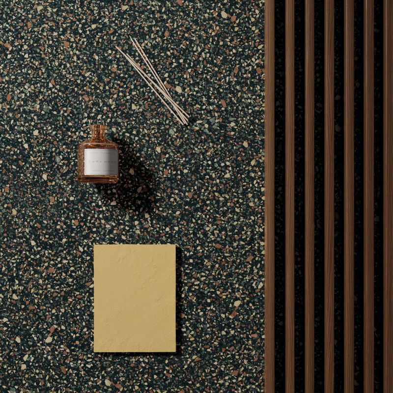 moodboard con effetto graniglia nero