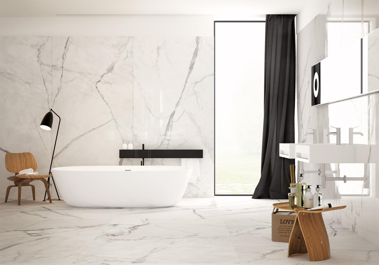 Lastre in gres grande formato per rivestire il bagno