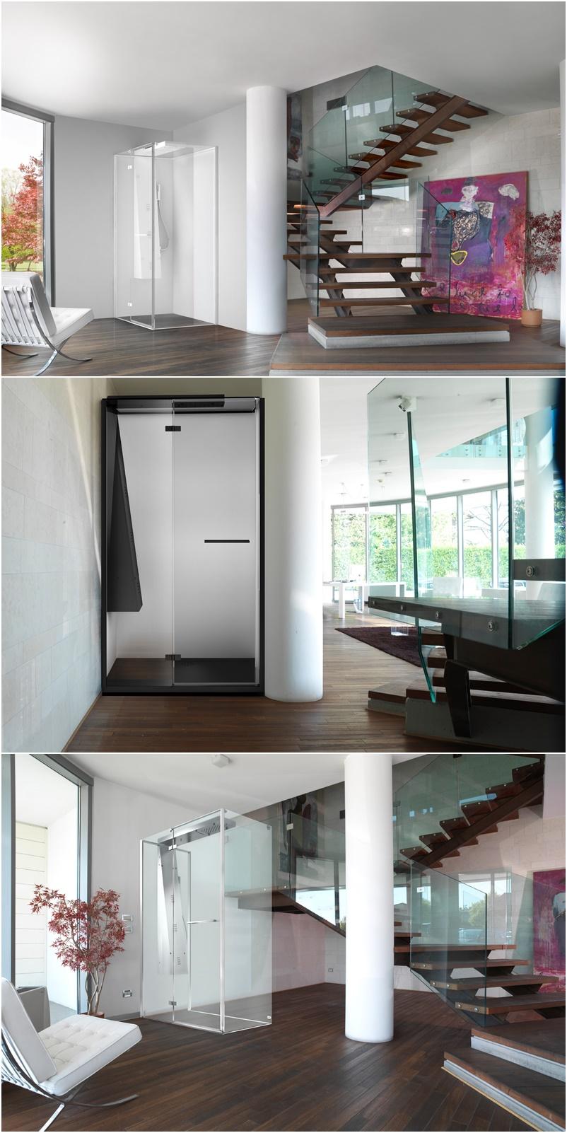 Invisible by Megius   Versione IDRO con idrogetti verticali e doccia a mano, nebulizzatori e cascata - Anticipazioni Salone del Bagno 2018