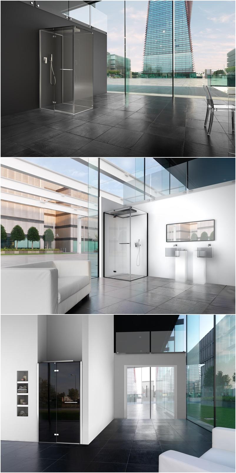 Cabina doccia Invisible by Megius | Versione Nude con solo soffione integrato nel tetto - anticipazioni Salone del Bagno 2018