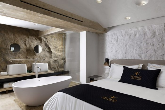 Boutique hotel Mykonos Kensho: interiors and bathrooms