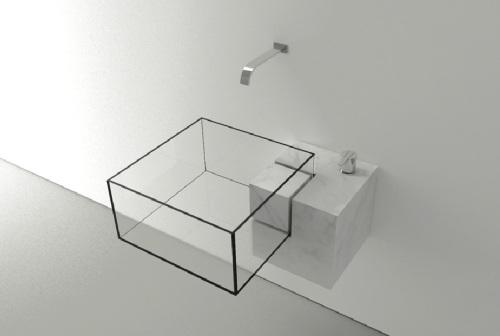 bagno in vetro trasparente