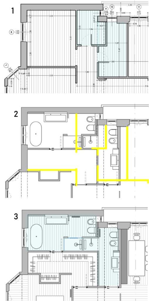 ristrutturare bagni vicini: pianta lavori prima e dopo