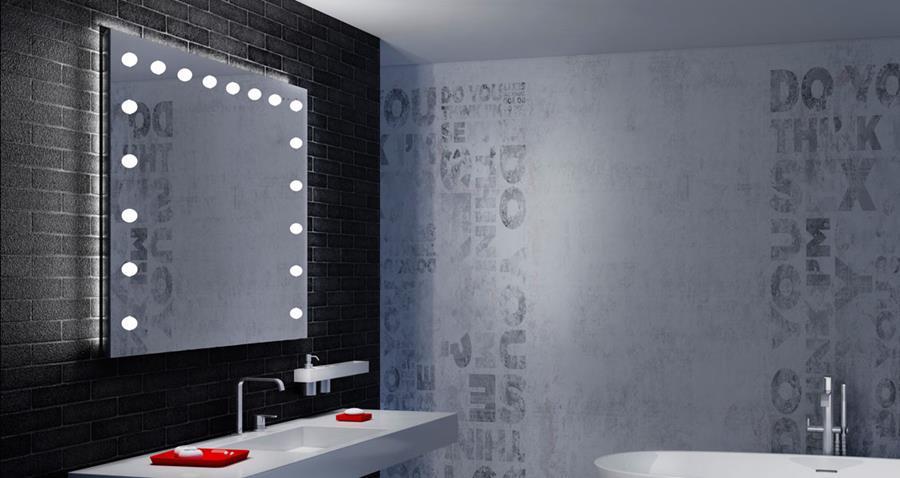 specchiere con luci con sistema brevettato di illuminazione i-Light