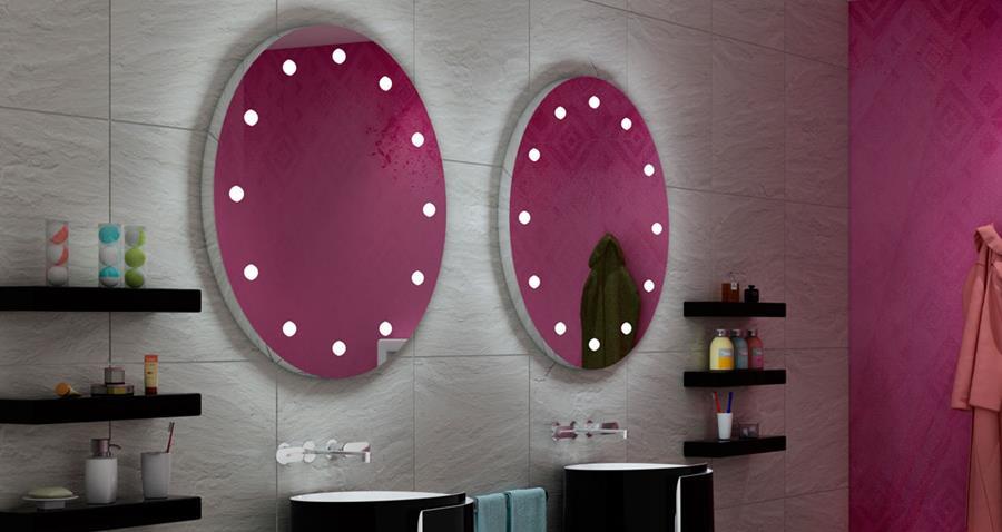 specchiera bagno tonda con luci integrate:
