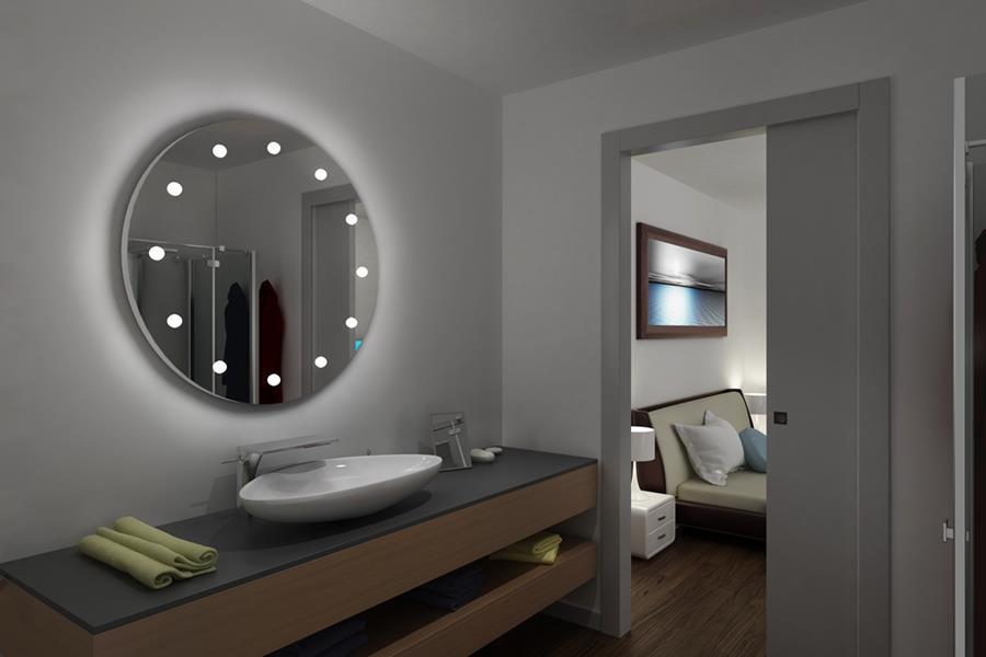 specchiera bagno con luci integrate: render