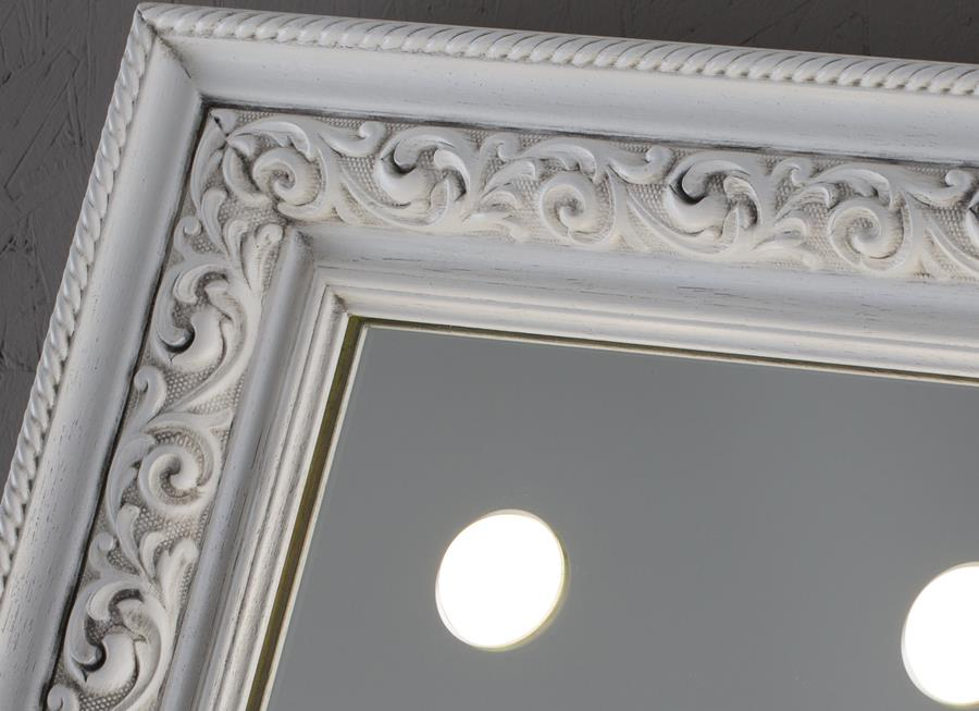 specchi per bagno con luci e cornice classica bianca