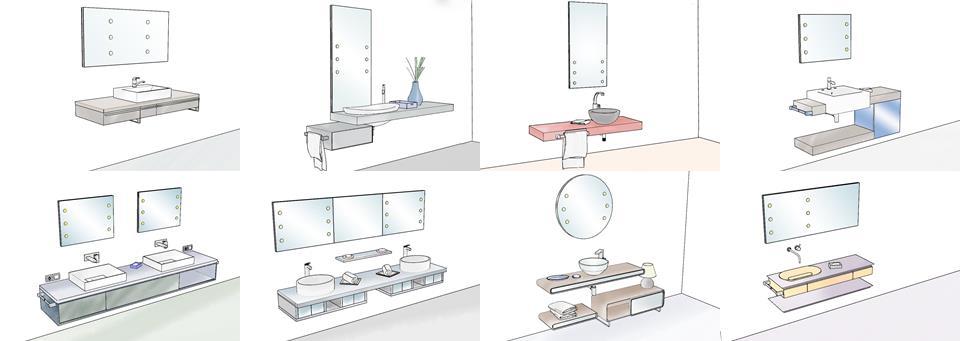 Specchi per bagno con luci integrate unica by cantoni - Luci per bagno design ...