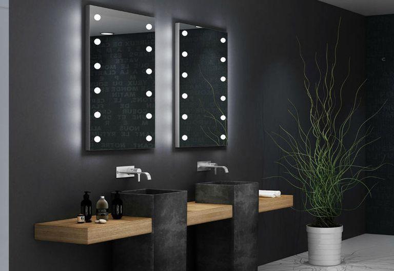 specchio per bagno con luci rettangolare verticale