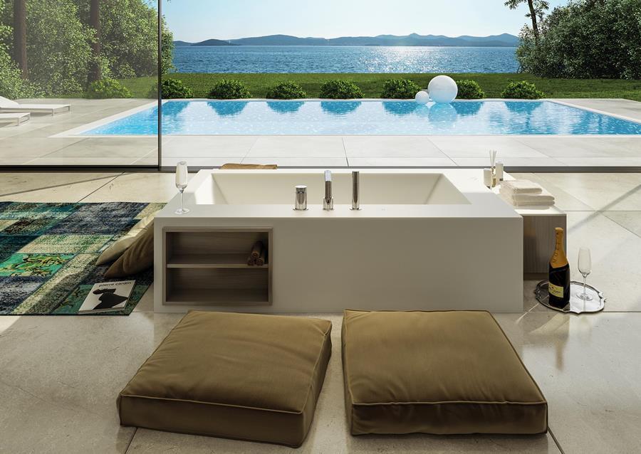 vasca da bagno design squadrata da centro stanza con libreria