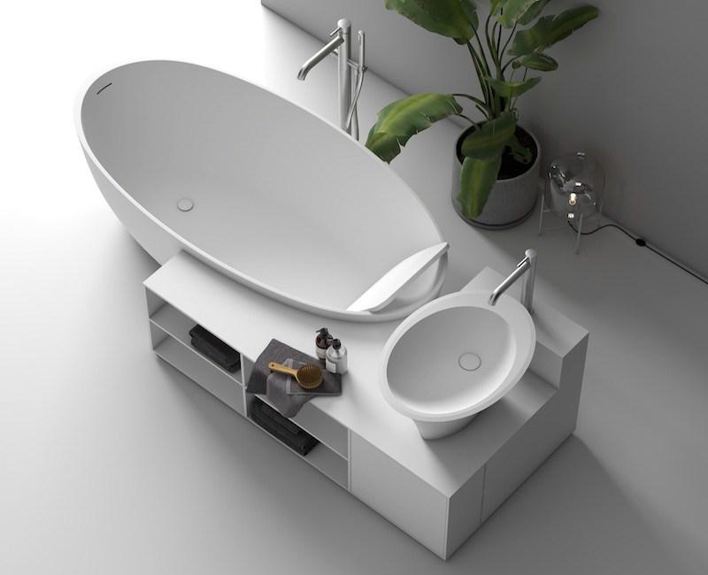 Vasca da bagno design in Corian con lavabo in appoggio integrato in un monoblocco
