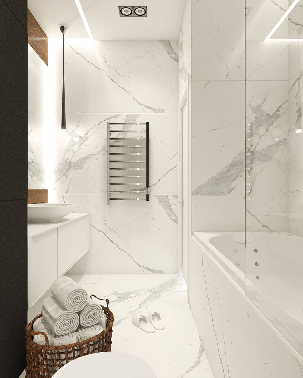 vasca da incasso rivestita in marmo